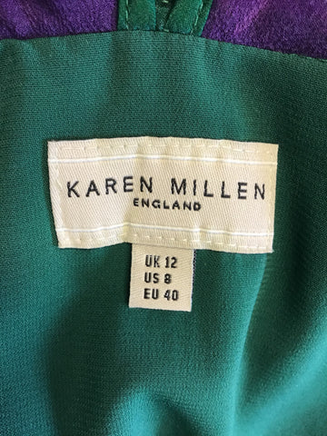 KAREN MILLEN GREEN & PURPLE SILK TOP WITH COTTON SKIRT & MATCHING BAG SIZE 8/12