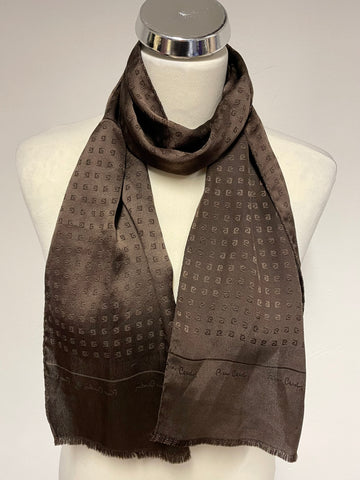 PIERE CARDIN DARK BROWN SILK LOGO DESIGN LONG SCARF