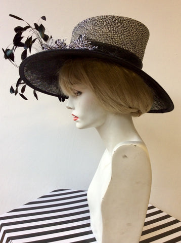 VICTORIA ANN BLACK & WHITE WEAVE WITH FEATHERS WIDE BRIM FORMAL HAT