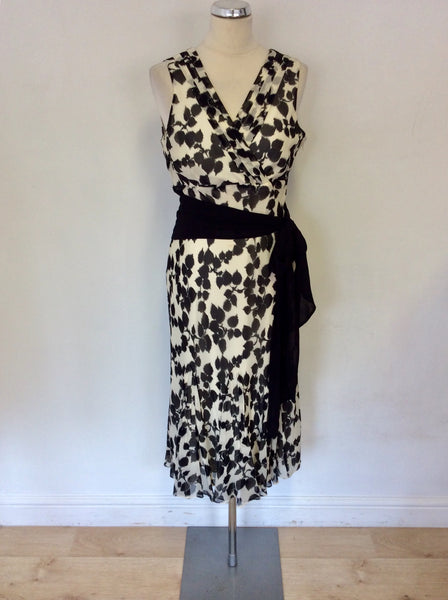 COAST BLACK & WHITE PRINT SILK SPECIAL OCCASION DRESS SIZE 14