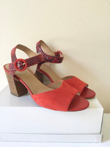 BRAND NEW GEOX RESPIRA RED SUEDE & LEATHER SNAKESKIN ANKLE STRAP SANDALS SIZE 7/40