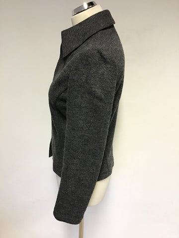 LK BENNETT DARK GREY WOOL JACKET & SKIRT SUIT SIZE 10