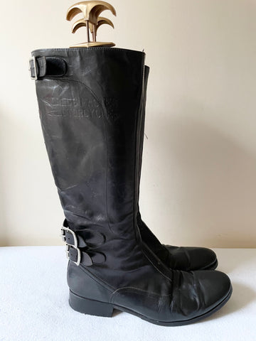 TRIUMPH BY PAUL SMITH BLACK LEATHER BUCKLE TRIM MOTORBIKE BOOTS SIZE 6/39