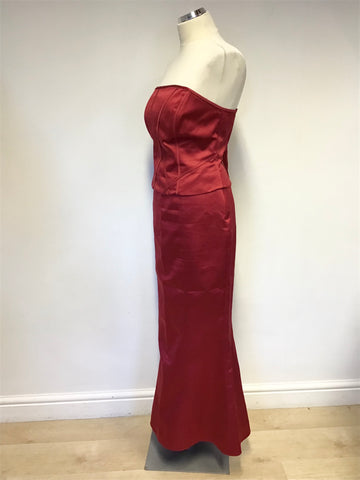 DEBUT RED STRAPLESS CORSET TOP, LONG SKIRT & MATCHING WRAP SIZE 12