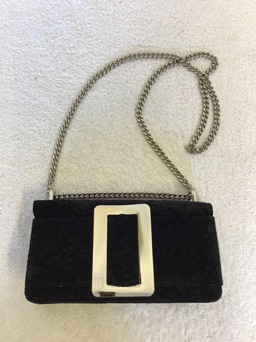 BRAND NEW PEACH BLACK CRUSHED VELVET SILVER BUCKLE TRIM CHAIN STRAP SHOULDER BAG