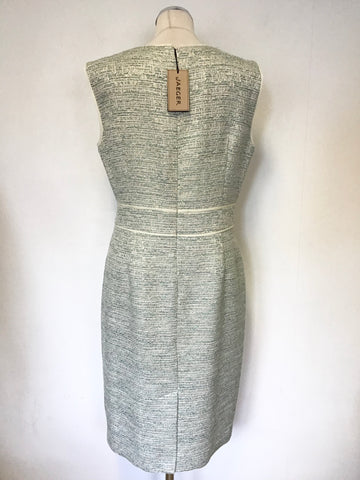 BRAND NEW JAEGER TURQUOISE, PALE GREEN & SILVER WEAVE PENCIL DRESS SIZE 16