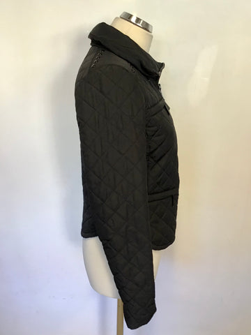 MICHAEL KORS BLACK LIGHTLY QUILTED CONCEALED HOOD JACKET SIZE S