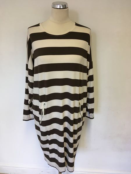 THE MASAI CLOTHING COMPANY BROWN & CREAM STRIPE STRETCH JERSEY DRESS SIZE M