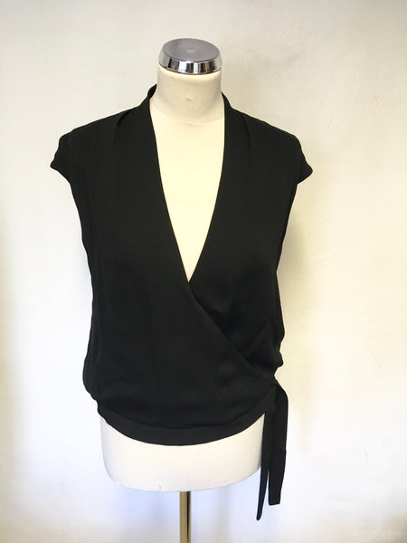 LK BENNETT FISHER BLACK SLEEVELESS WRAP ACROSS TIE SIDE TOP SIZE 10