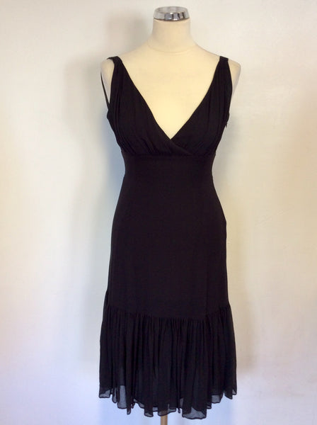 TED BAKER BLACK SILK SPECIAL OCCASION DRESS SIZE 1 UK 8/10