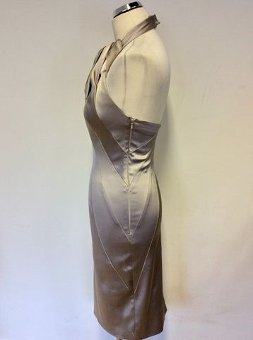 KAREN MILLEN SILVER GREY SATIN SPECIAL OCCASION DRESS SIZE 10