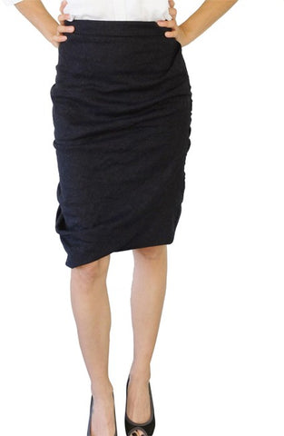 ALL SAINTS CHARCOAL GREY WOOL BLEND DRAPED LOUVRE SKIRT SIZE 8
