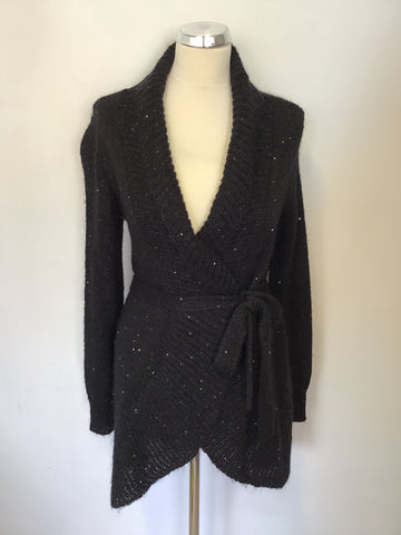 FENN WRIGHT MANSON BLACK SEQUINNED TIE BELT CARDIGAN SIZE 10