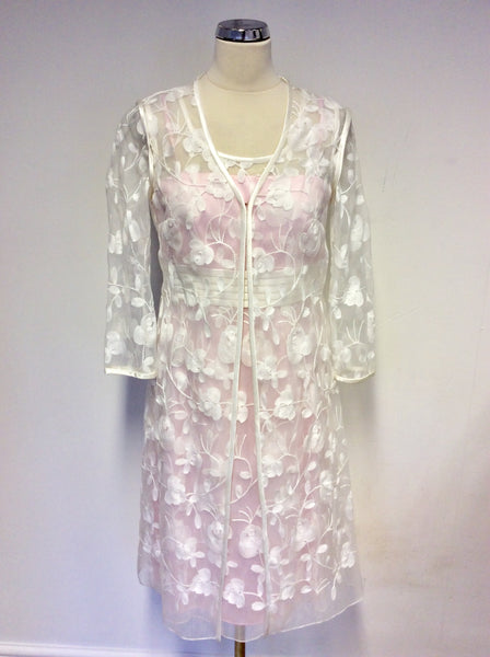 BRAND NEW DRESS CODE BY VEROMIA PINK LINED & SHEER WHITE EMBROIDERED OVERLAY DRESS & SHEER DUSTER COAT SIZE 10