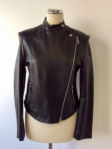 BRAND NEW LAURA ASHLEY BLACK SOFT LEATHER BIKER JACKET SIZE M