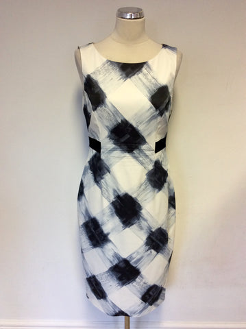 KAREN MILLEN BLUE & WHITE PRINT PENCIL DRESS SIZE 14