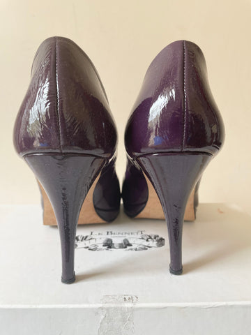 LK BENNETT ANNIE PURPLE PATENT LEATHER PEEP TOE BOW TRIM HEELS SIZE 7.5/41