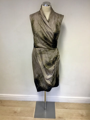 MINT VELVET BLACK,BEIGE & BROWN PRINT WRAP DRESS SIZE 14