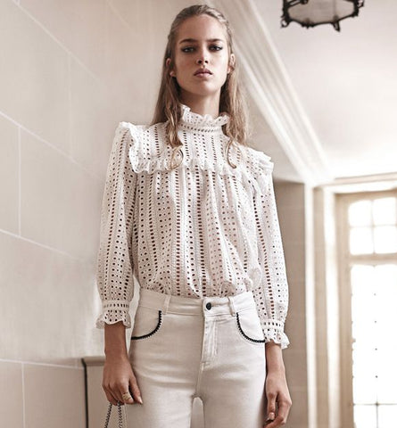 CAUDIE PIERLOT WHITE BROIDERY ANGLAISE HIGH NECK TOP SIZE 38 UK 10