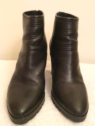 BPRIVATE BLACK LEATHER HEELED ANKLE BOOTS SIZE 7.5/41