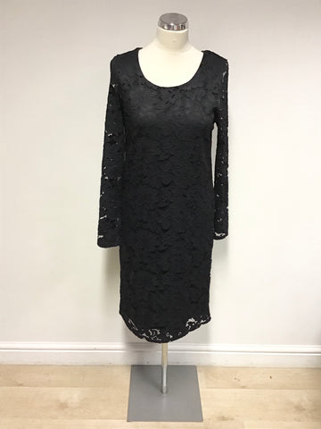 A POSTCARD FROM BRIGHTON BLACK LACE LONG SLEEVE SHIFT DRESS SIZE 2 UK 12/14