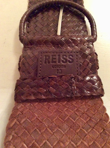 REISS BROWN LEATHER PLAITED BELT SIZE M