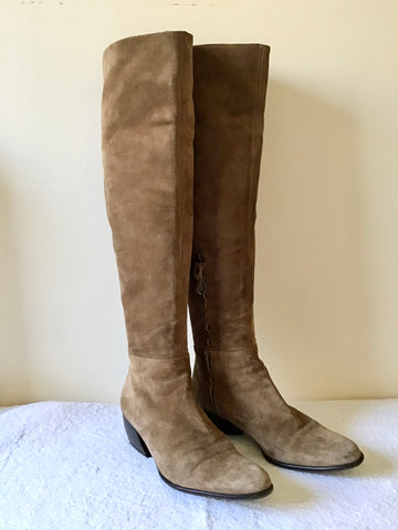 C-DOUX TAN SUEDE KNEE KIGH BOOTS SIZE 3/35