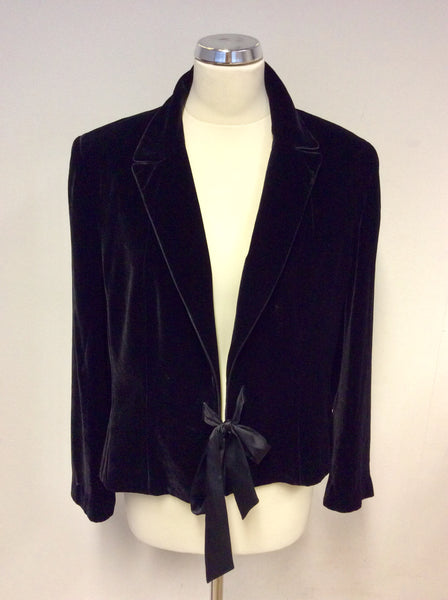 PLANET BLACK VELVET TIE FRONT EVENING/ SPECIAL OCCASION JACKET SIZE 16