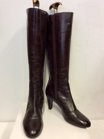 BRAND NEW JANE SHILTON DARK BROWN LEATHER KNEE LENGTHBOOTS SIZE 5/38