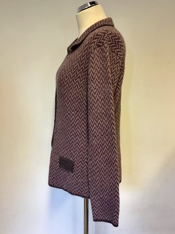 MIDA PINK & BROWN ZIG ZAG DESIGN COLLARED CARDIGAN/ JACKET SIZE XL