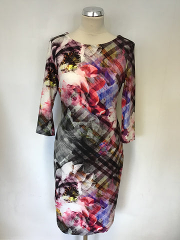 JOSEPH RIBKOFF MULTI COLOURED PRINT 3/4 SLEEVE STRETCH KNEE LENGTH DRESS SIZE 12