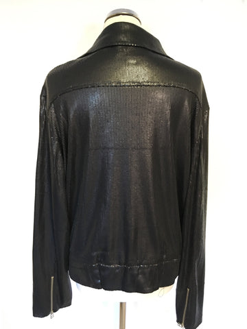 B BY BERNADO BLACK SEQUINNED BIKER STYLE JACKET SIZE XL