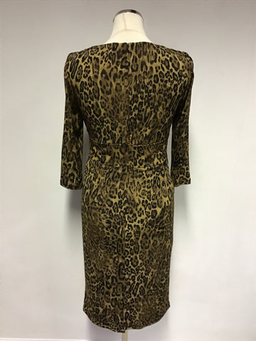 TINA B. NEW YORK BROWN LEOPARD PRINT 3/4 SLEEVE WRAP STYLE DRESS SIZE S UK 10/12