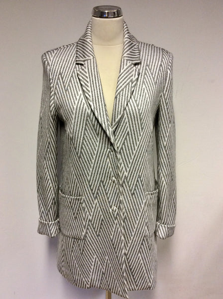 AIRFIELD GREY & WHITE OVERSIZE LONG BLAZER JACKET SIZE 8 FIT 10/12