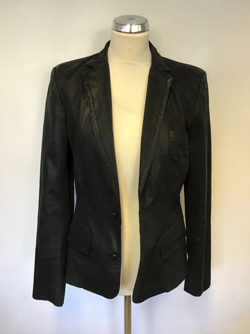 KARL LAGERFIELD BLACK WAX COATED JACKET SIZE L