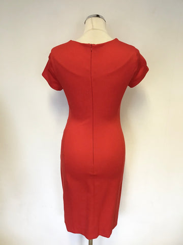 LK BENNETT POCO SALSA RED STRETCH KNEE LENGTH SHORT SLEEVE DRESS SIZE 6