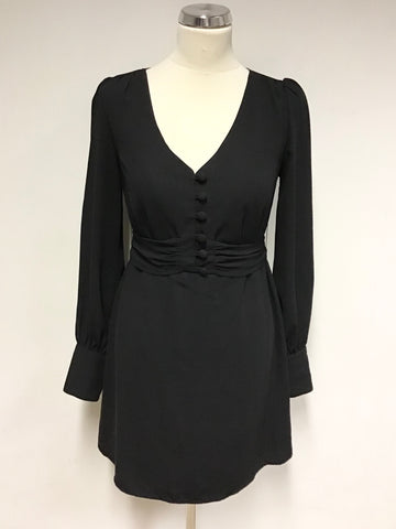 ALICE TEMPERLEY BLACK LONG SLEEVE TIE WAIST MINI DRESS SIZE 8 UK 12