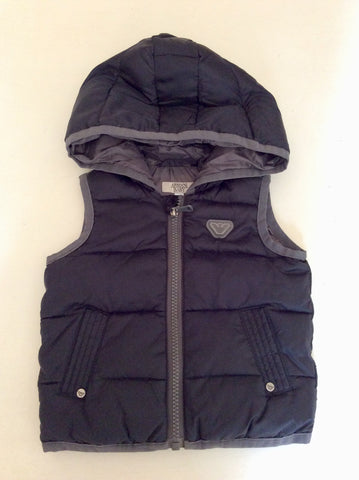 ARMANI BABY BLACK & GREY TRIM HOODED ZIP UP GILET AGE 6 MONTHS
