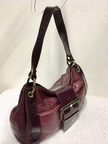 TED BAKER BURGUNDY 2 TONE LEATHER BUCKLE TRIM SHOULDER BAG