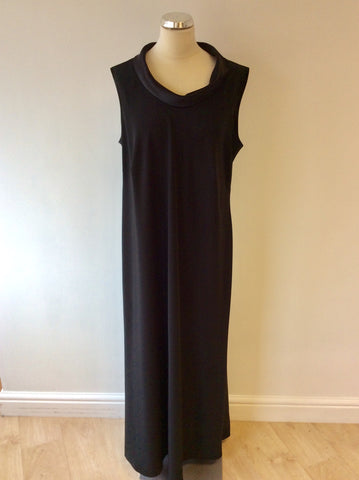 ANN HARVEY BLACK SATIN NECKLINE SLEEVELESS LONG EVENING DRESS SIZE 22
