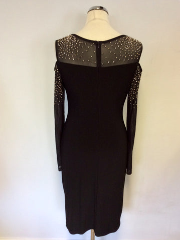 BRAND NEW JOSEPH RIBKOFF BLACK WITH SILVER BEADED MESH COLD SHOULDER COCKTAIL DRESS SIZE 10
