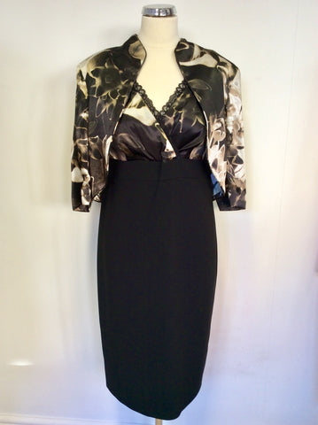 BRAND NEW GOLD BY MICHAEL H BLACK & BROWN PRINT DRESS & BOLERO JACKET SIZE 16