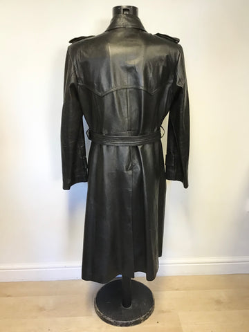 VINTAGE BLACK LEATHER DOUBLE BREASTED BELTED LONG COAT SIZE 52 UK 42