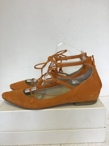 BODEN APRICOT SUEDE LACE UP TIE FRONT FLATS SIZE 7/40
