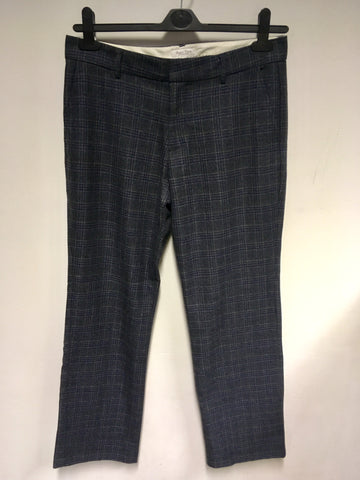 PART TWO GREY CHECK WOOL BLEND TROUSERS SIZE 12
