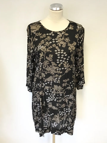 THE MASAI CLOTHING COMPANY FLORAL PRINT 3/4 SLEEVE DRESS SIZE M