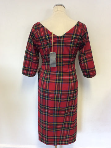 BRAND NEW BOMBSHELL RED TARTAN CONFIDENT HOURGLASS DRESS SIZE 12