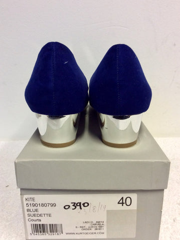 BRAND NEW CARVELA BLUE SUEDETTE SILVER HEEL COURT SHOES SIZE 7/40