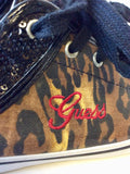 GUESS BROWN & BLACK LEOPARD PRINT SEQUINED TRIM PLIMSOLS SIZE 5.5/38.5