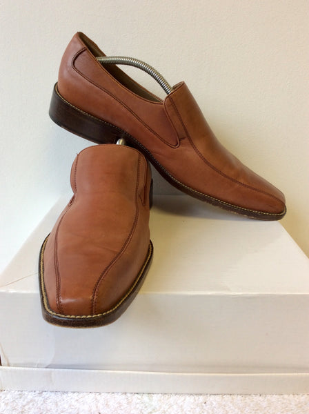 AZOR TAN LEATHER SLIP ON SHOES SIZE 10/44